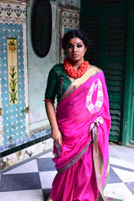 Pink Silk Saree With Embroidered Vintage Jewlery