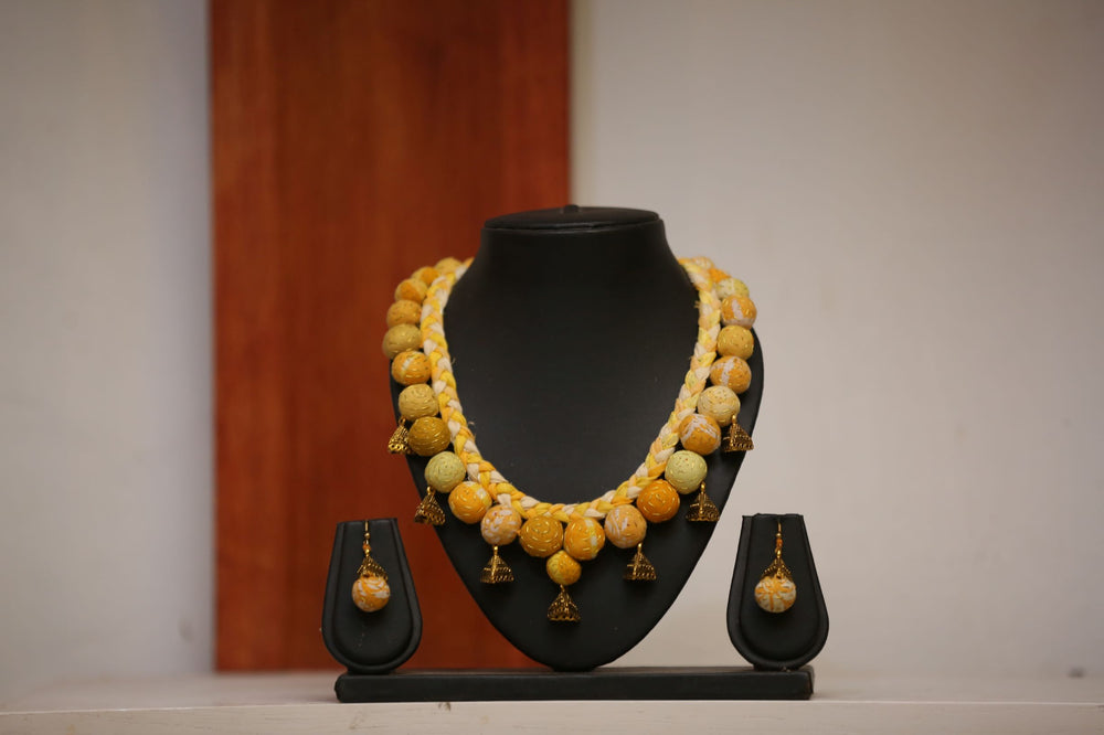 Yellow Braid and Beads Necklace Earrings Set