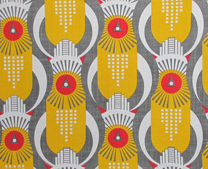 Art Deco Hawk - Yellow, Red and Grey on White