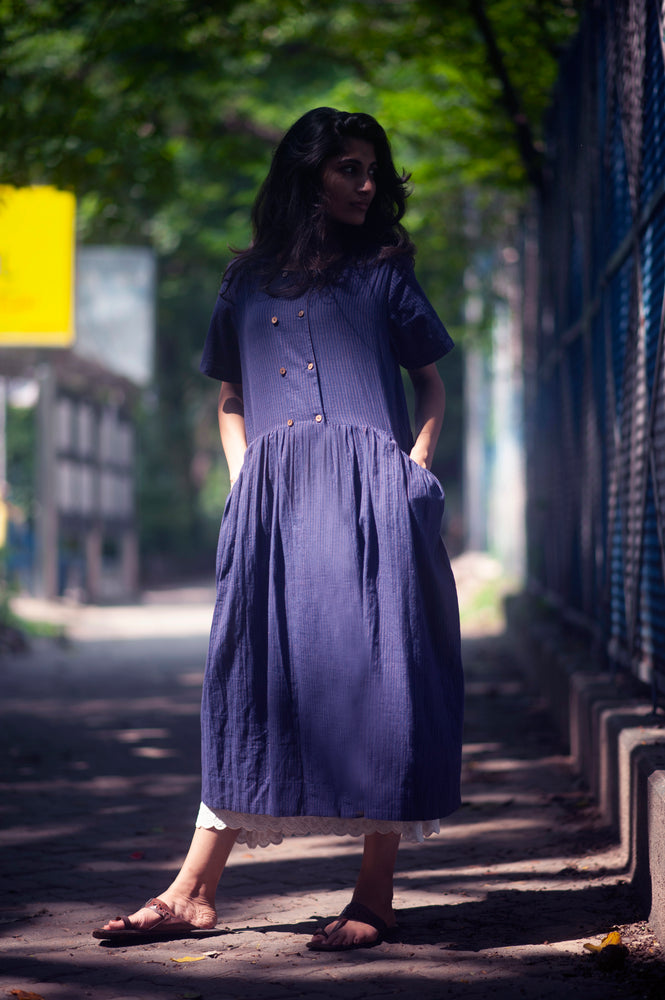 Load image into Gallery viewer, Blue Bird  Double breasted style dress in handwoven stripe