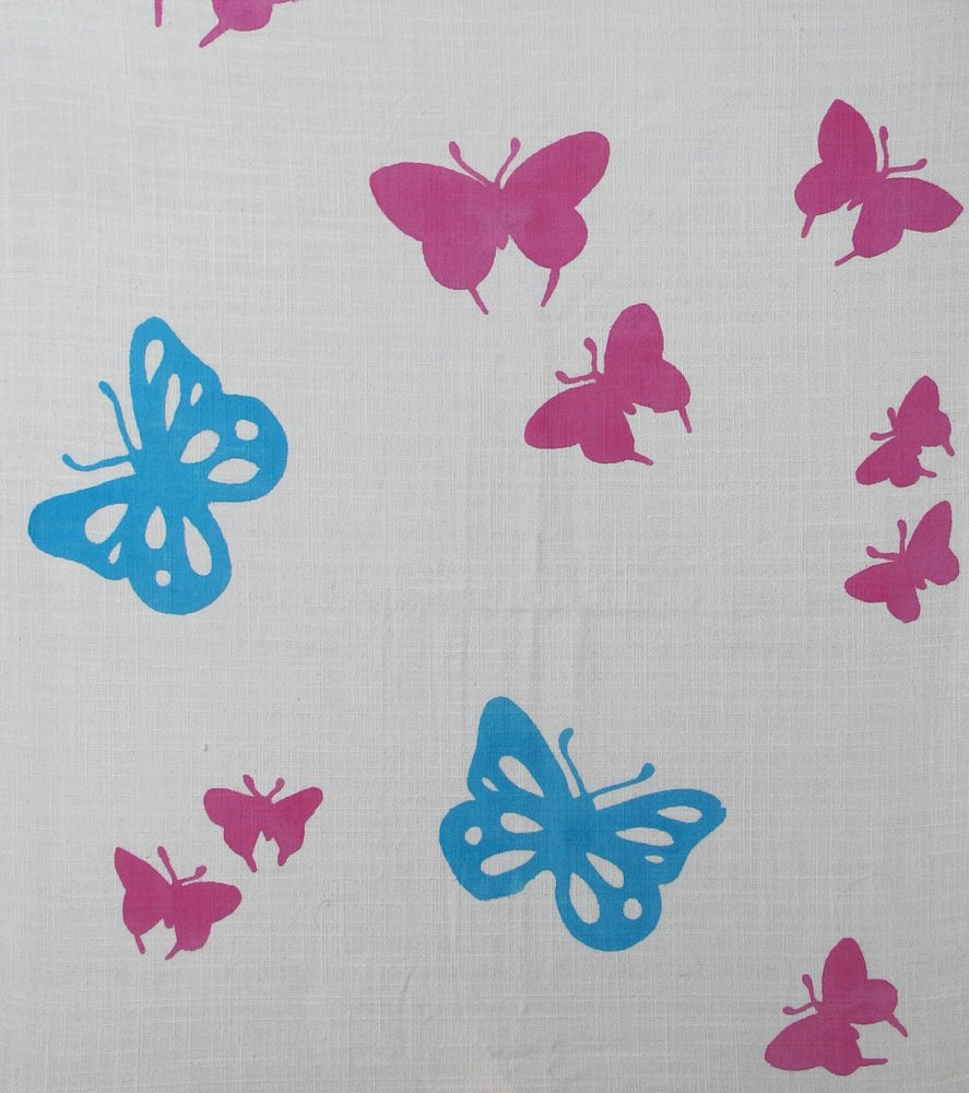 Butterflies - Pink and Blue on White
