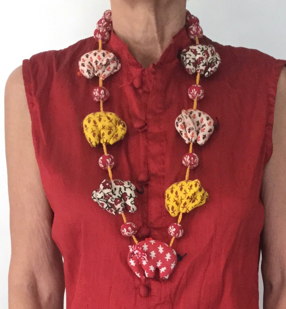 Red-Yellow Elephant Necklaces