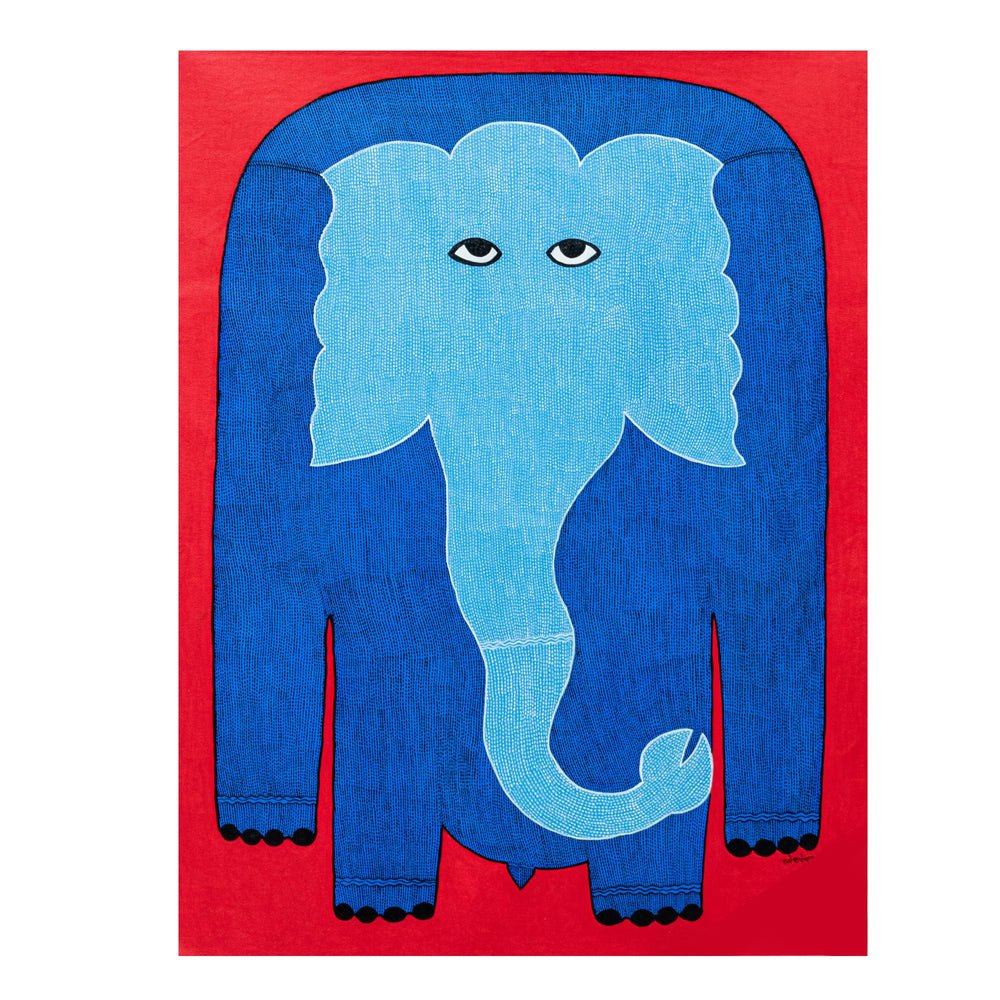 Load image into Gallery viewer, GOND : Blue Elephant on red 2