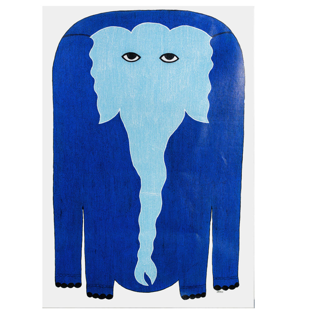 Load image into Gallery viewer, GOND : Blue Elephant on white