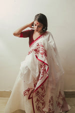 Mohua - Heritage Border Stripes & Dots Saree