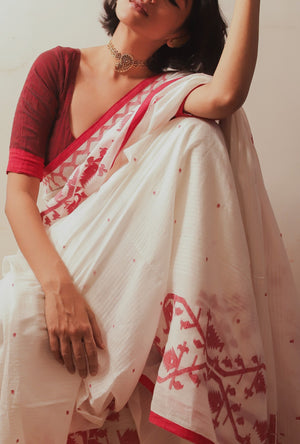 Load image into Gallery viewer, Mohua - Heritage Border Stripes & Dots Saree