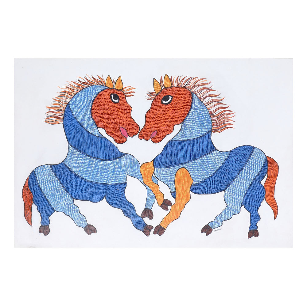 Load image into Gallery viewer, GOND : Prancing Horses