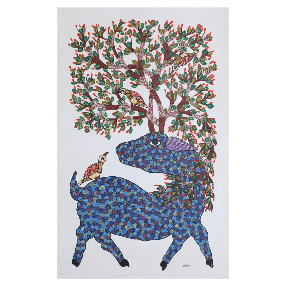 Load image into Gallery viewer, GOND : Deer and Bird