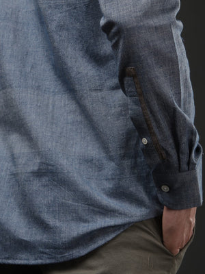 Blue Chambray Khadi Pocket Detail Slim Fit Shirt