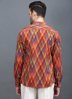 Load image into Gallery viewer, Apricot Color Multi Ikkat Khadi Shirt