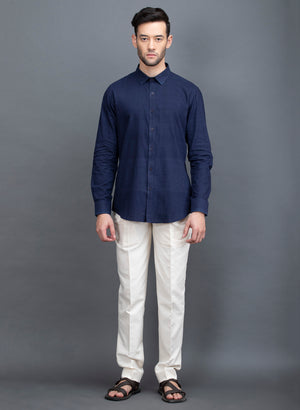 Load image into Gallery viewer, Natural Indigo Selvedge Design Khadi Cotton Slim Fit Shirt