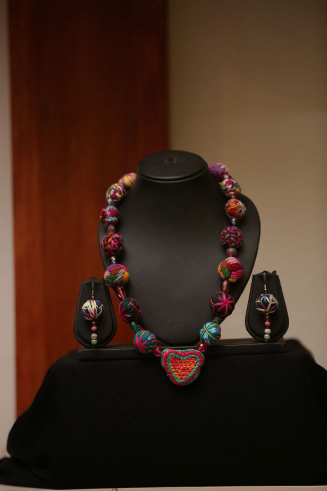 Magenta Embroidered Beaded Necklace and Earrings Sets