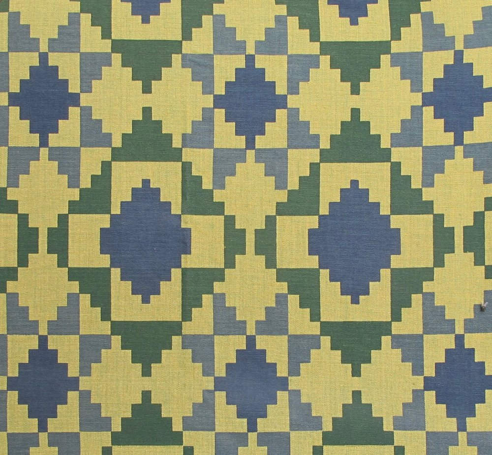Mosaic - Blue and Green on Two Tone Green