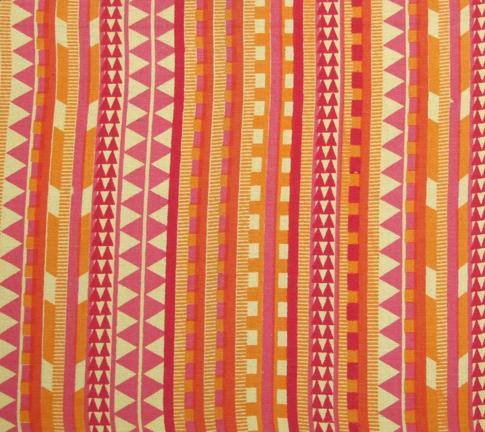 Nagastripes - Pink and Orange on Yellow