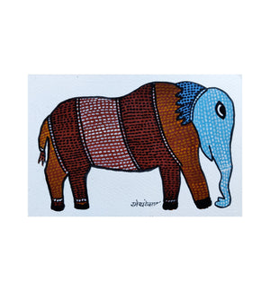Load image into Gallery viewer, GOND : Postcard Elephant