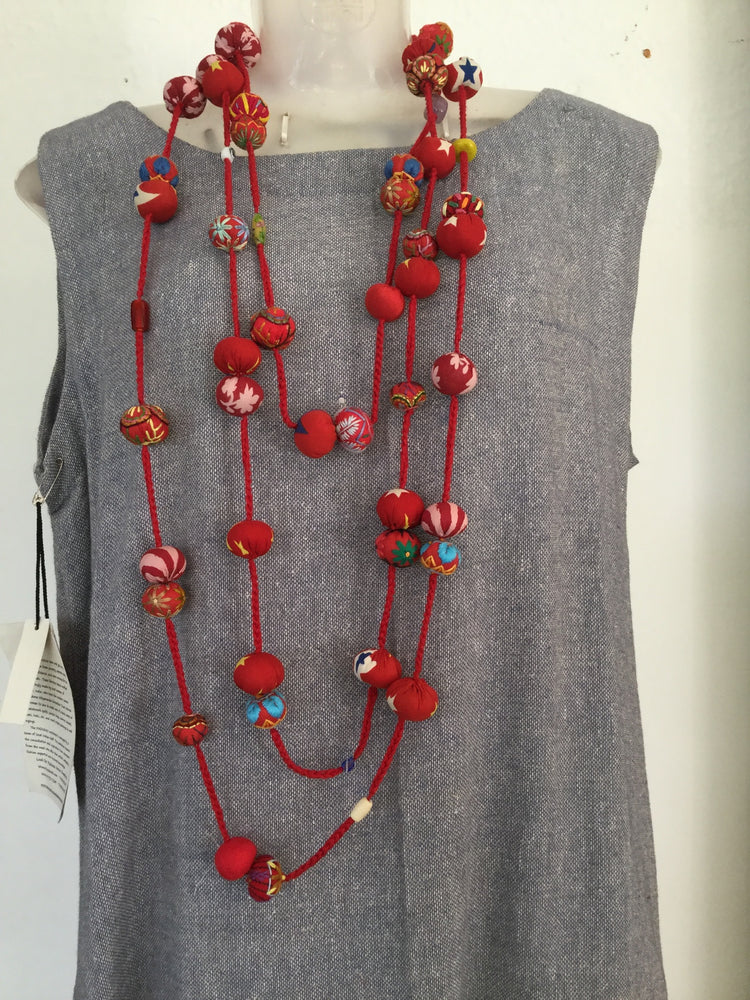 Red Triple Length Necklace/Belt