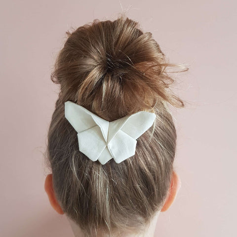 Cream Solid Butterfly Clip / Headband / Pigtail Set
