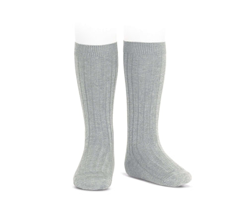 Grey Ribbed cotton knee-high socks