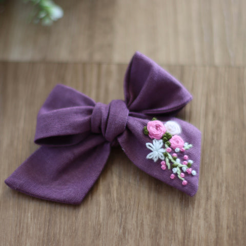 Audrey Embroidered Bow
