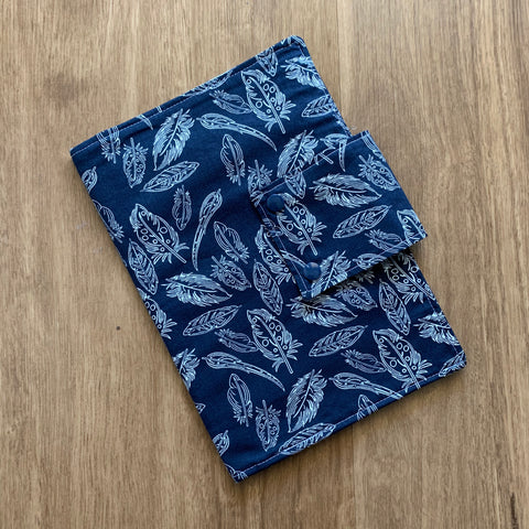 Feathers on Navy Nappy wallet