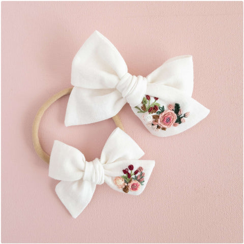 Rosey Hand Embroidered Bow