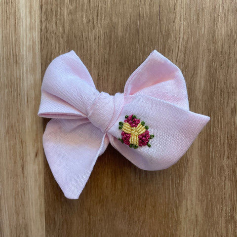 Olivia Pinwheel Hand Embroidered Bow