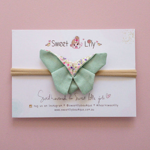 Sweet Pea Mint Butterfly Clip / Headband / Pigtail Set