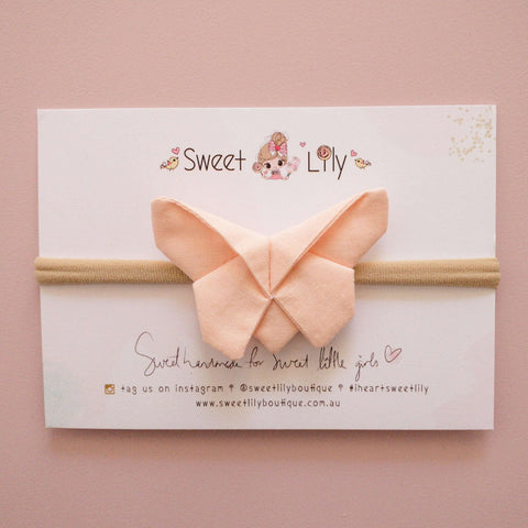 Peach Solid Butterfly Clip / Headband / Pigtail Set