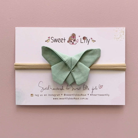 Mint Solid Butterfly Clip / Headband / Pigtail Set