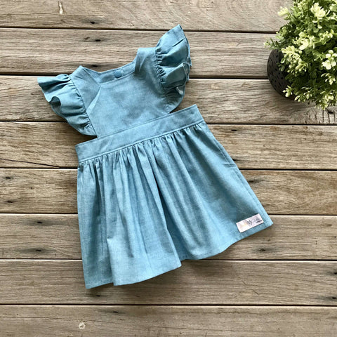 Polly Pinafore in Chambray Linen Texture