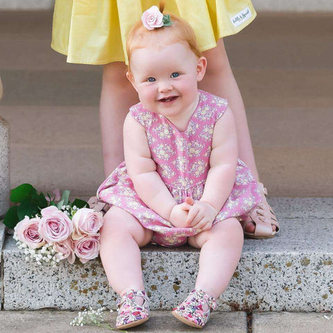 Baby Tea Party Playsuit in Marylou Rose