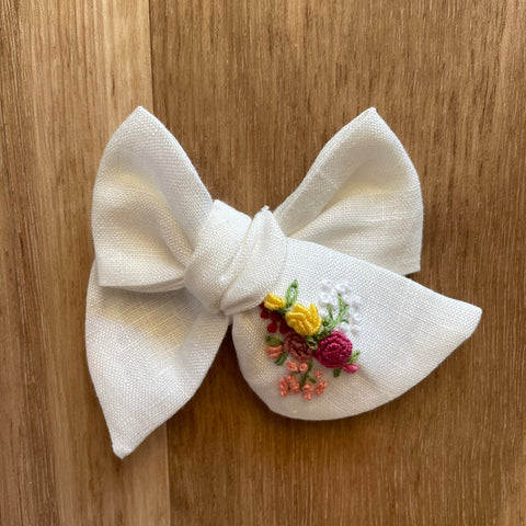 Eliza Baby Bow Hand Embroidered Headband