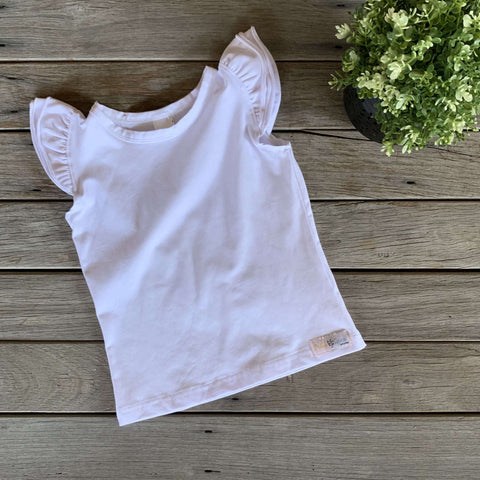 Sleeveless Flutter Tee - White