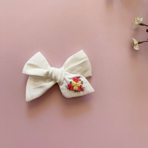 Snow delight Baby Bow Hand Embroidered Headband