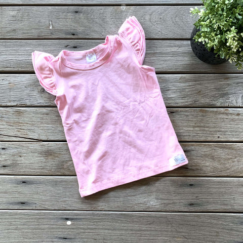 Sleeveless Flutter Tee - Icy Pink