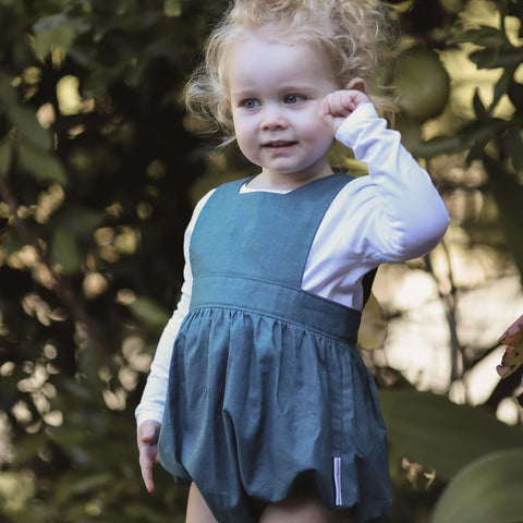 Baby Polly Playsuit in Peacock Linen Texture
