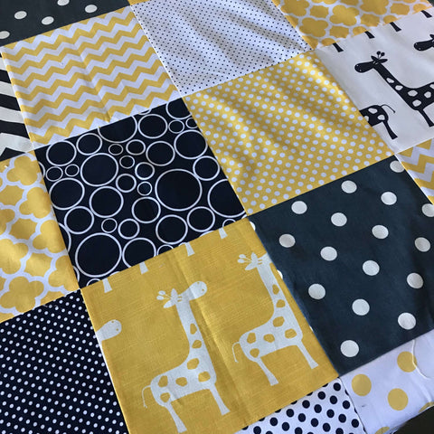 Giraffe Party Navy & Yellow Cot Quilt