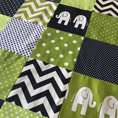 Elephant Party Lime Green & Navy Cot Quilt