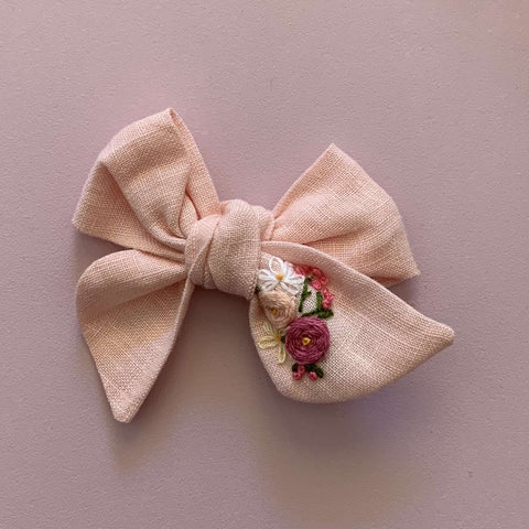 Peach Delight Baby Bow Hand Embroidered Headband