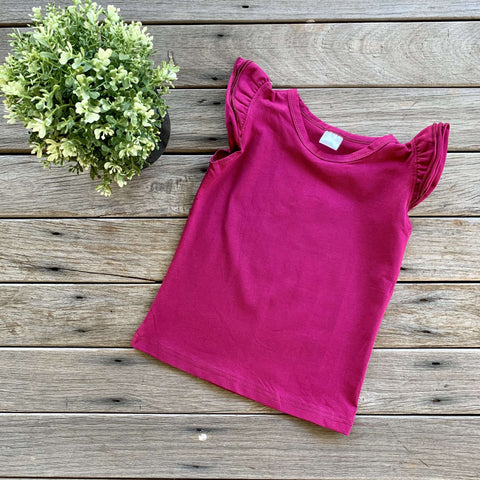 Sleeveless Flutter Tee - Berry