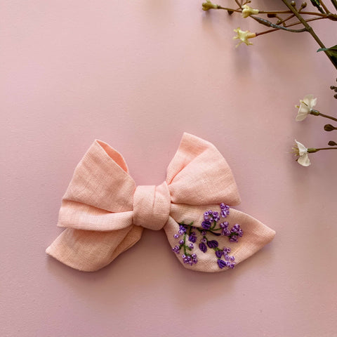 Pinwheel Hand Embroidered Bow - Heather