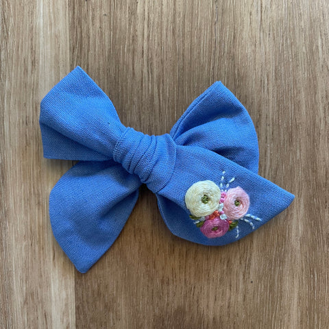 Amy Pinwheel Hand Embroidered Bow