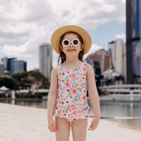 Sage Spring swimsuit with ruffle