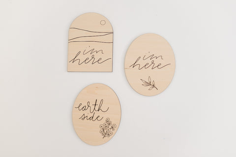 3 different simple and modern wood birth announcement signs