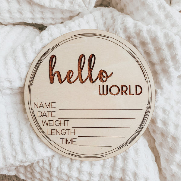 """Hello World"" Birth Announcement - Sandstone Avenue"