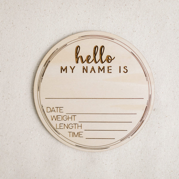 """Hello My Name Is"" Birth Announcement - Sandstone Avenue"
