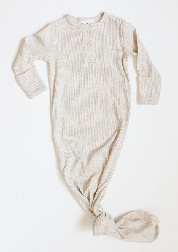 Organic Cotton Knotted Gown - Oatmeal