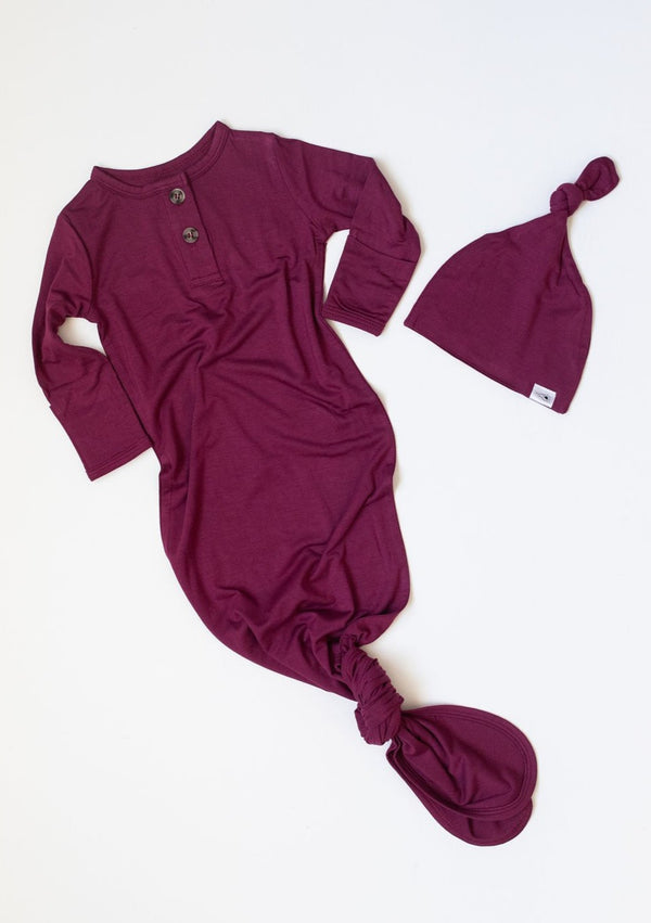 Bamboo Knotted Gown & Hat - Cranberry
