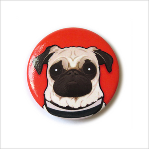 Pug Pin Badge