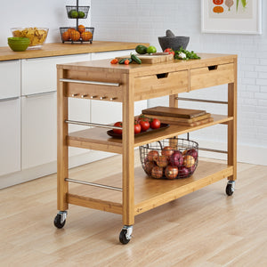 Kitchen Island w/ Drawers | Bamboo